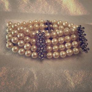 "Vintage Monet ""Pearl"" and rhinestone bracelet"